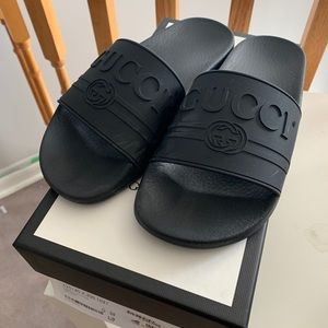 Gucci rubber logo slides